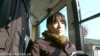 Japanese Babe Enjoys Blowing A Horny Guy She Met On The Bus
