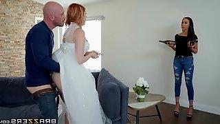 Redhead bride Lauren Phillips fucks hard in her wedding dress