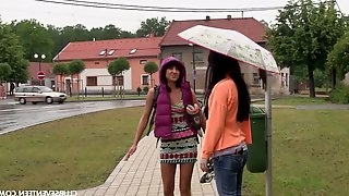 Two seductive teens is toying and fingering each others pussies outdoor