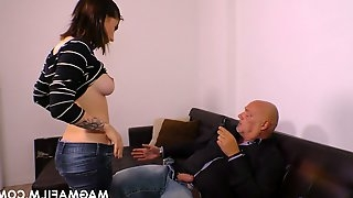 Kinky bald headed dude fucks naughty young brunette and cums on her face