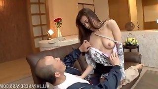 Passionate fucking on the sofa with small tits Japanese Maki Hokujo