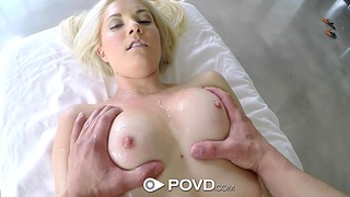 Petite blonde Henley Hart enjoys a full body massage and heavy pussy pounding