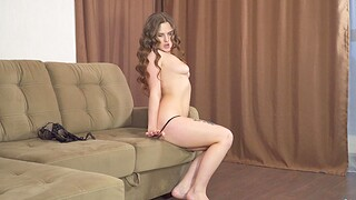 Horny solo chick Amanda June moans while pleasuring her pussy