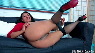 Full-grown slut Danica Collins takes off will not hear of nylon pantyhose less action