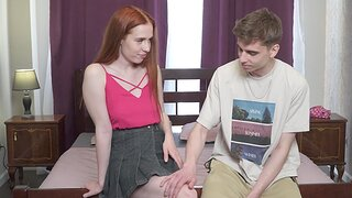 Gentle fucking adjacent to the bedroom with adorable redhead Jessie Way