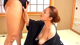 Cum in mouth for a cute Japanese wife after passionate bonking