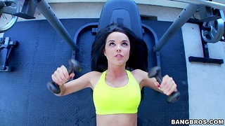 Pretty girl Dillion Harper works out and gets fucked by a stud
