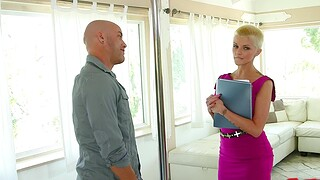 Short hair blondie drops her dress to ride a huge dick of a client